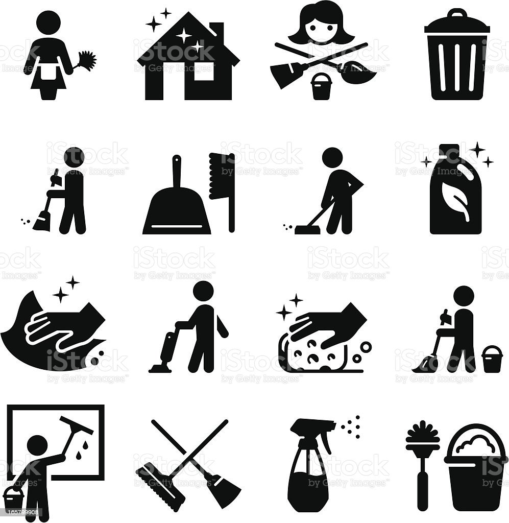 Vector set of black cleaning icons vector art illustration