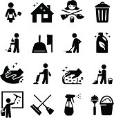 Vector set of black cleaning icons