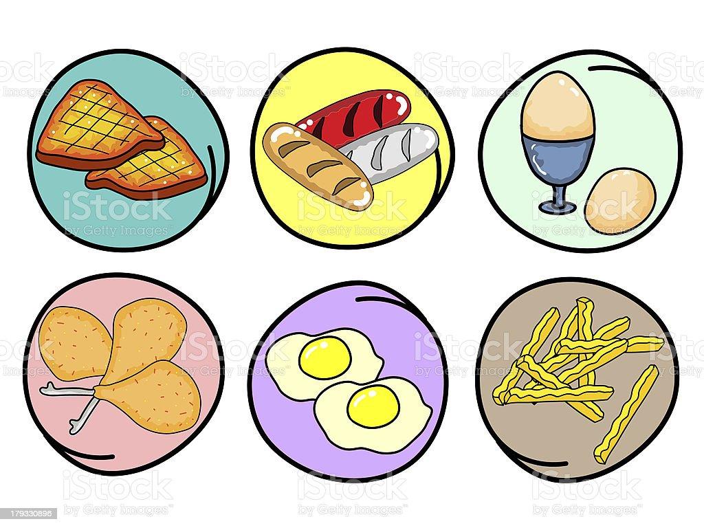 Vector Set of Breakfast on Round Background vector art illustration