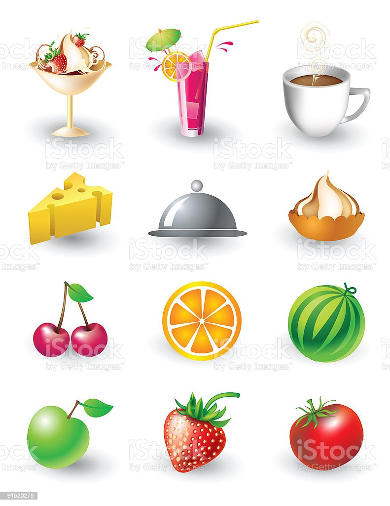 Vector set of food objects royalty-free stock vector art