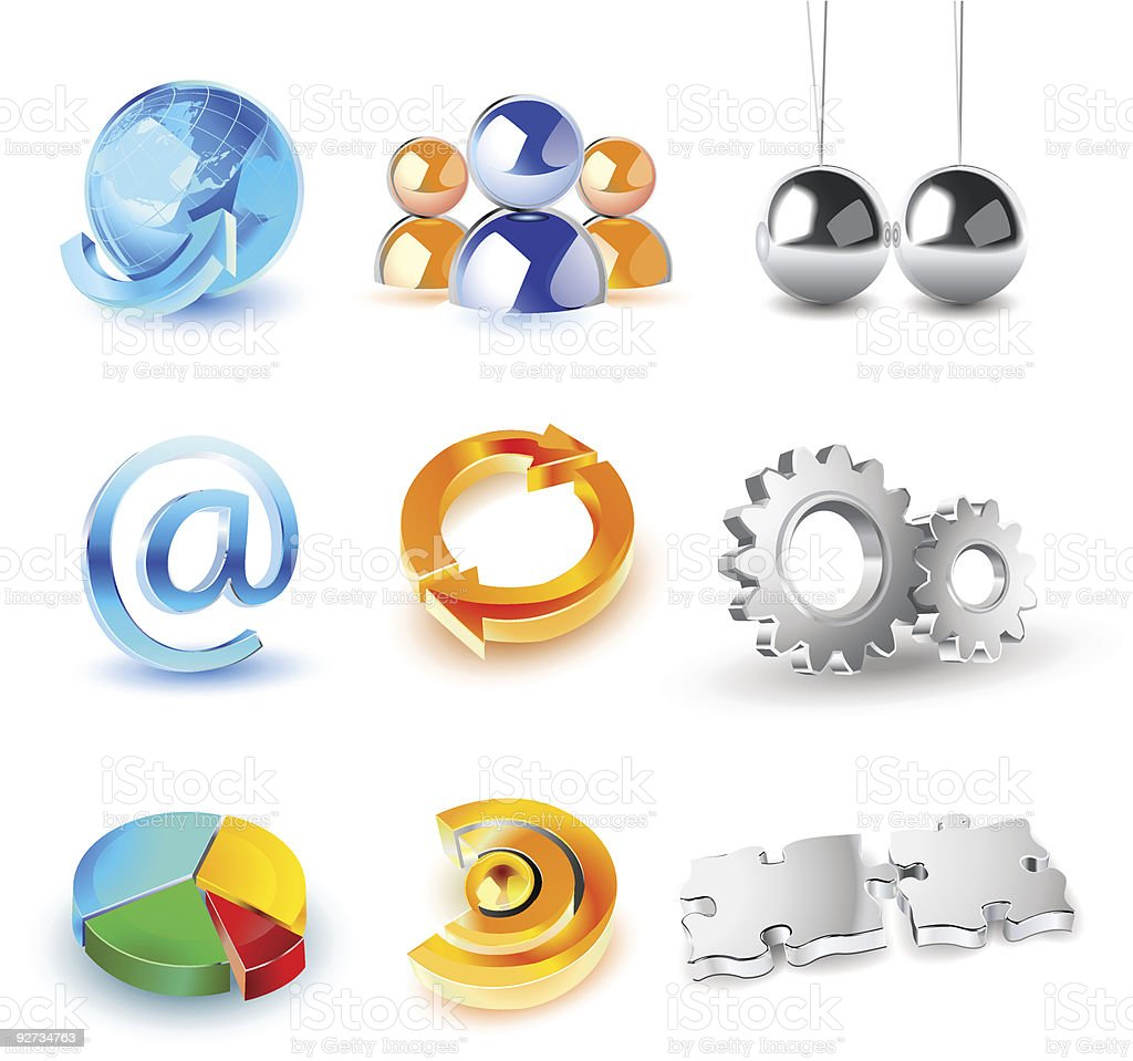 vector set of shiny 3d icons royalty-free stock vector art