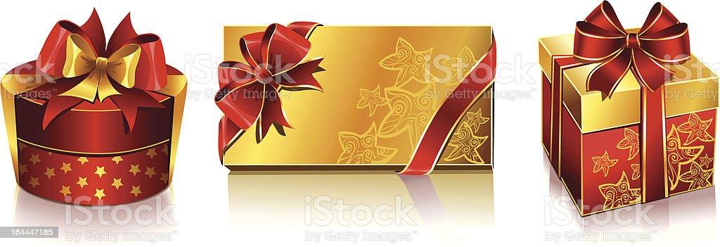 Vector set of three holiday and christmas boxes royalty-free stock vector art