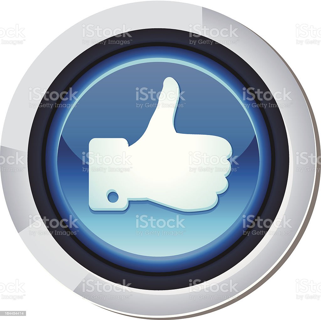 vector social media button with hand on blue background royalty-free stock vector art