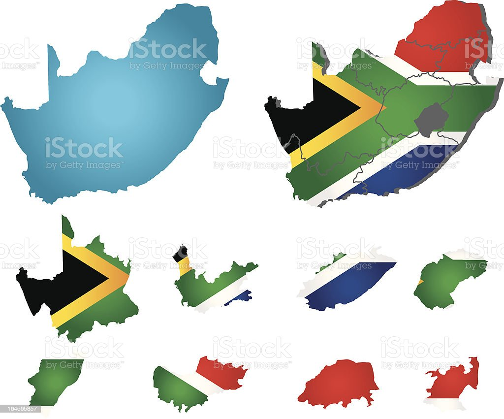 Vector South Africa map with flag royalty-free stock vector art