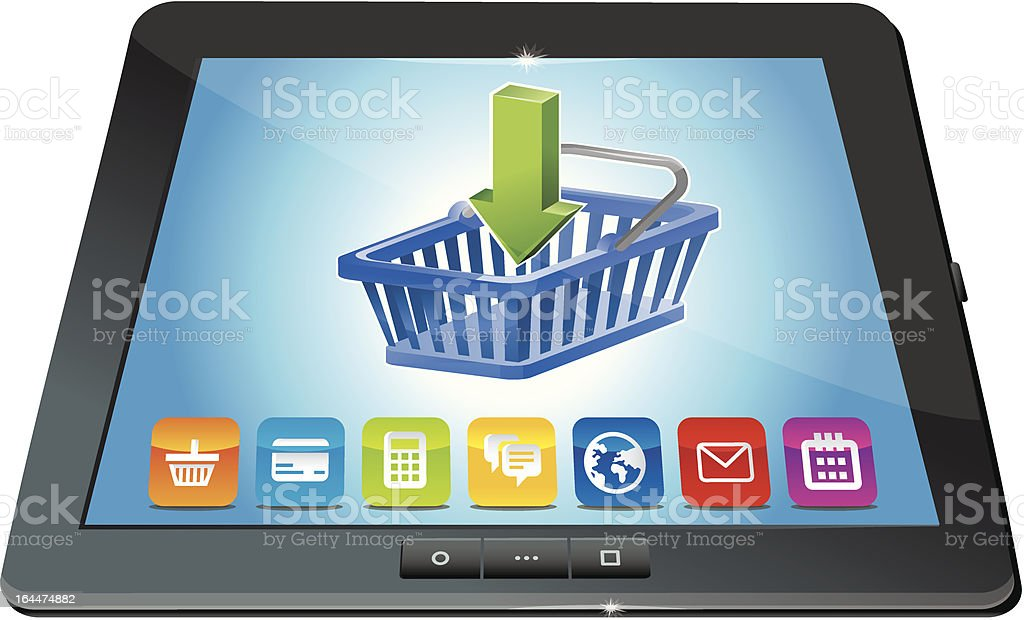 vector tablet pc with shopping cart icon - ecommerce concept royalty-free stock vector art