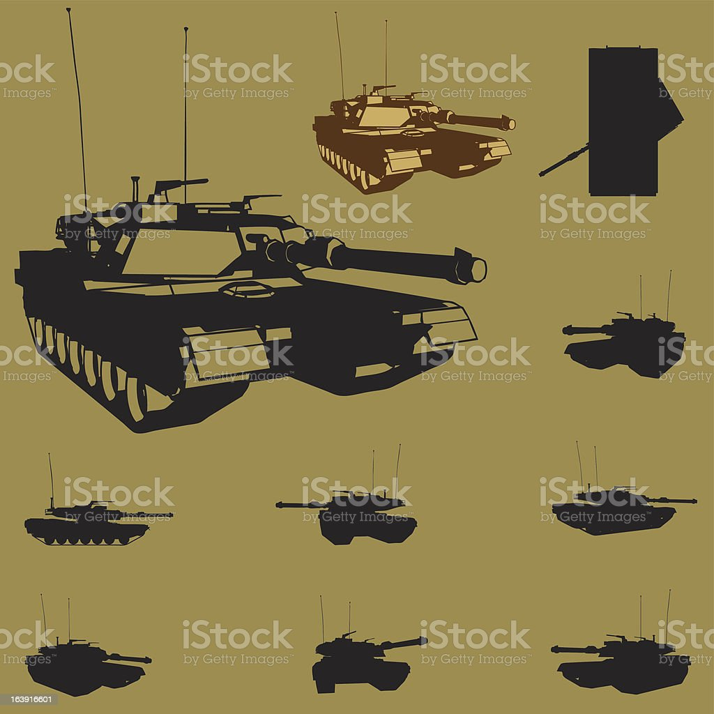 vector tank silhouette set vector art illustration