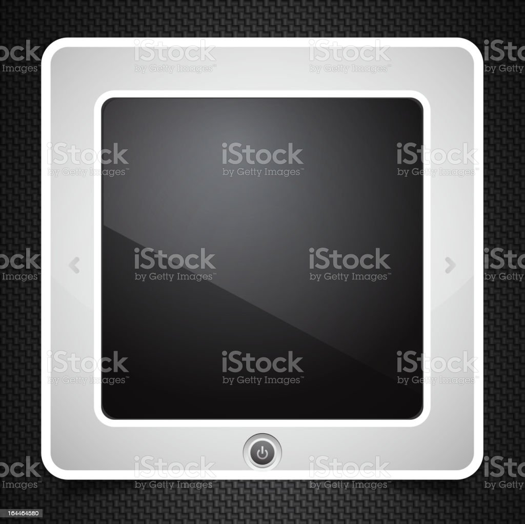Vector technology composition: tablet computer on carbon background royalty-free stock vector art