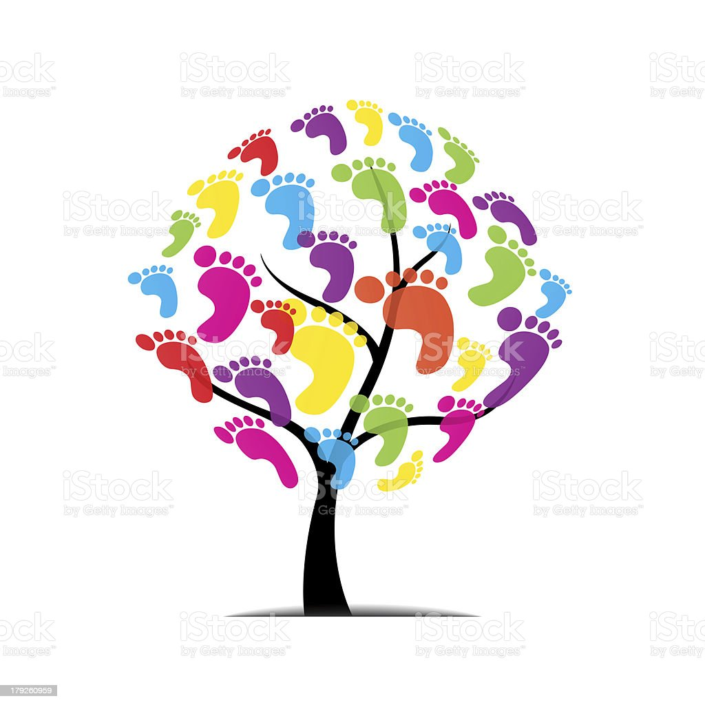vector tree, foot, paw, print isolated on white background royalty-free stock vector art