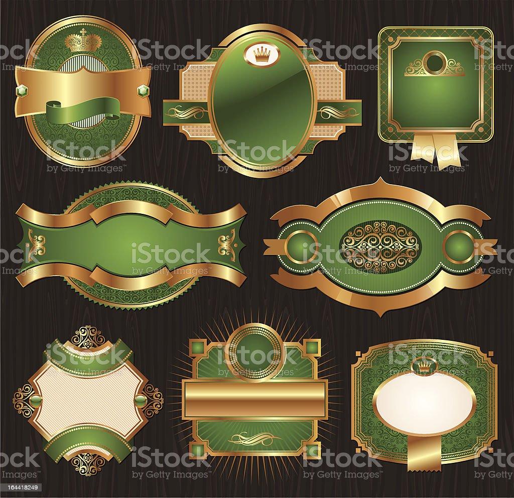 Vector vintage golden-green luxury ornate framed labels vector art illustration
