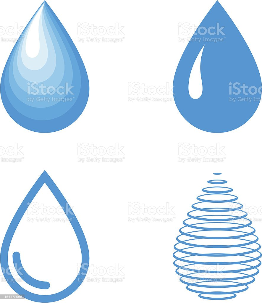 Vector Water Drops Icon Set vector art illustration