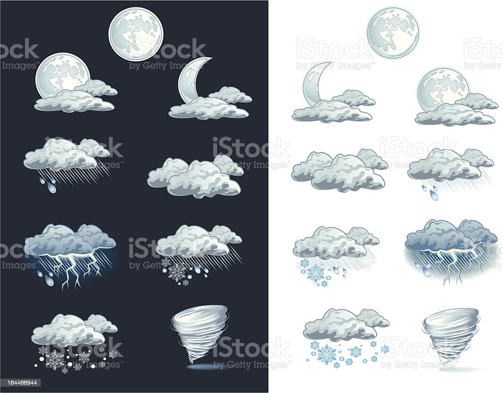 Vector weather forecast icons - night vector art illustration