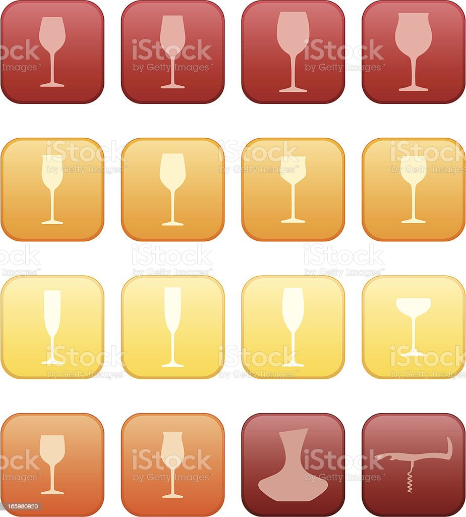 Vector Wine Glasses Icon set vector art illustration