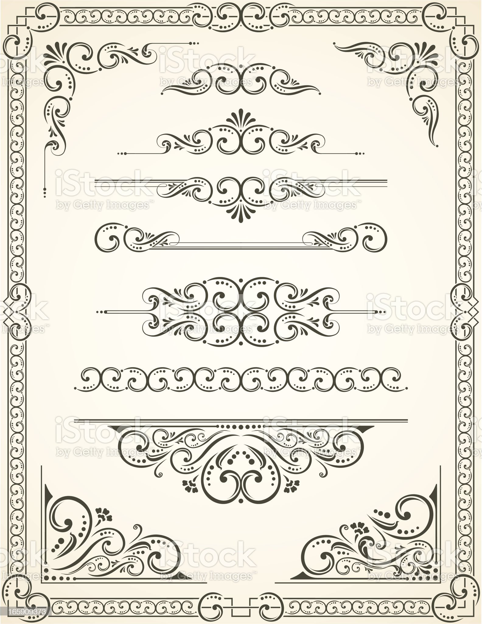 Vectorized Scroll Set and Blanc Certificate royalty-free stock vector art