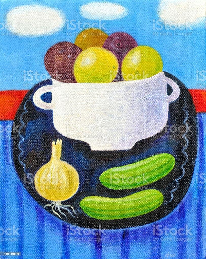 Vegetable bowl illustration vector art illustration