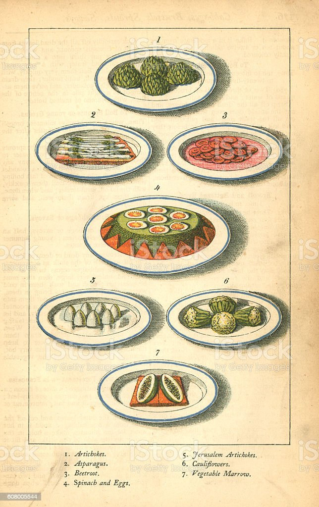 Vegetable dishes - Victorian illustration vector art illustration