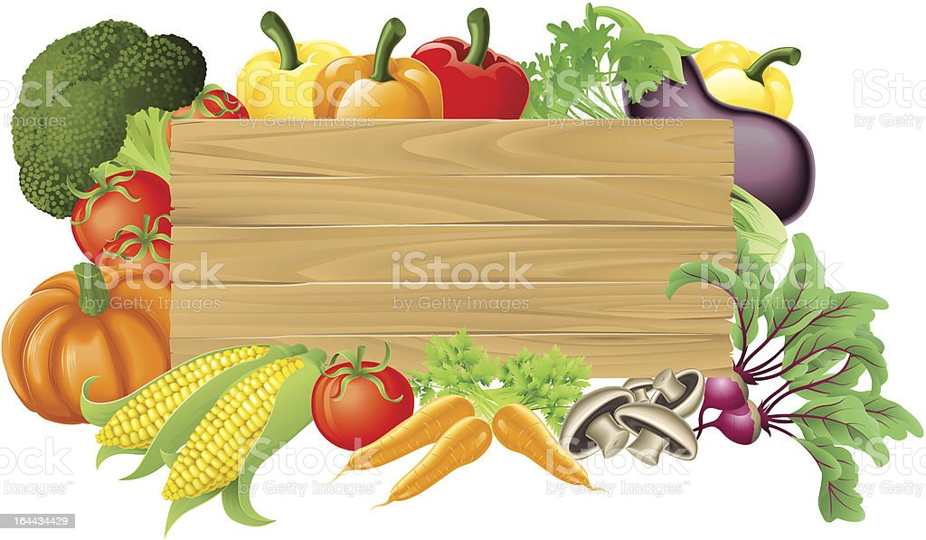 Vegetable wooden sign illustration vector art illustration