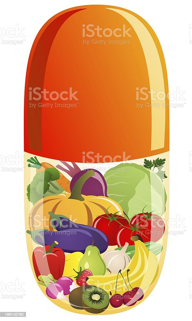 Vegetables and fruit in a vitamin tablet vector art illustration