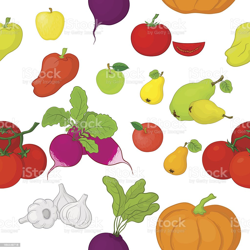 Vegetables and fruits, seamless background royalty-free stock vector art