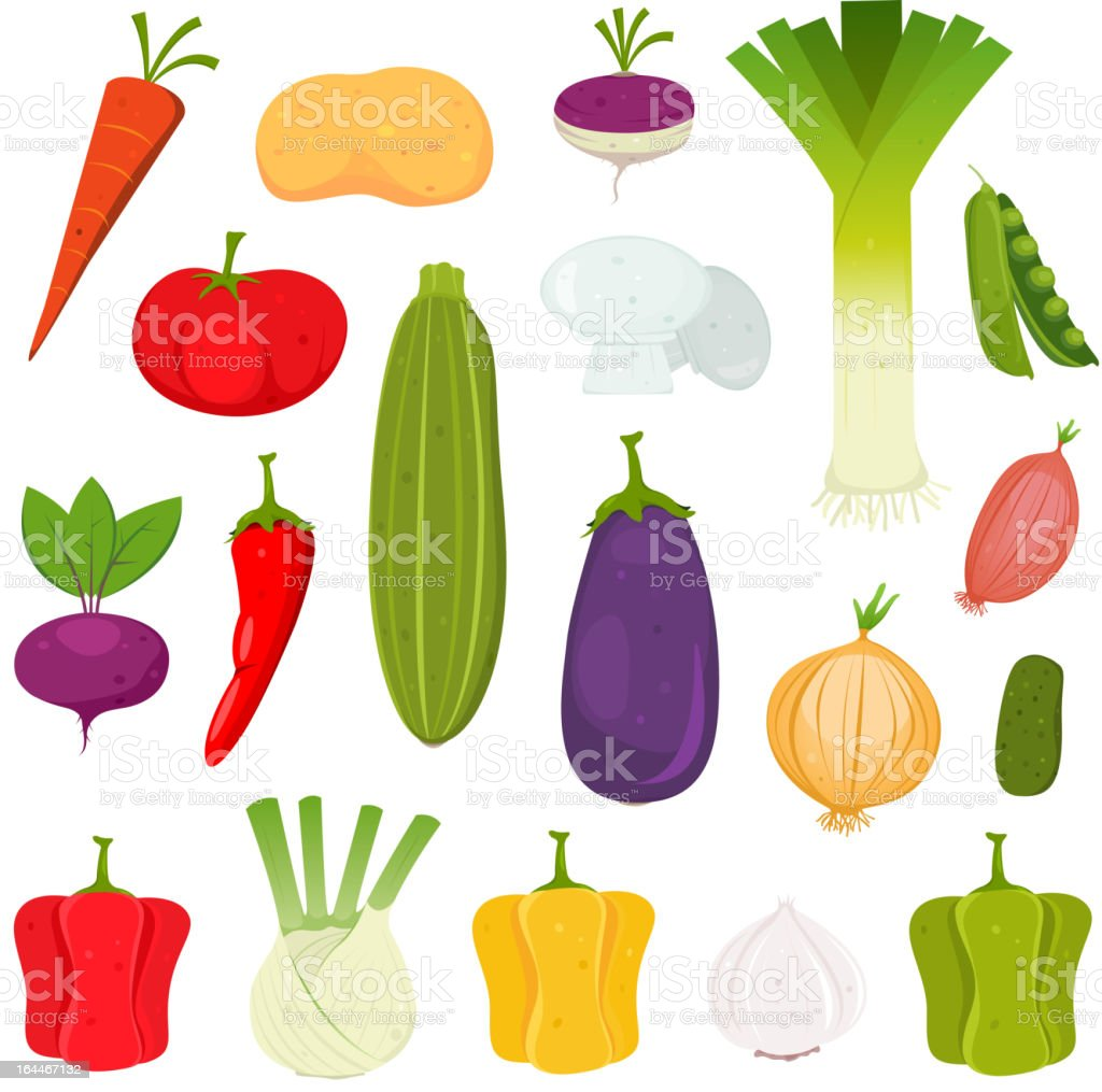 Vegetables Icons Set vector art illustration