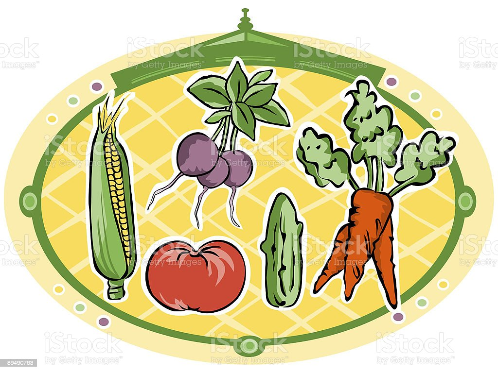 vegetables in circle royalty-free stock vector art