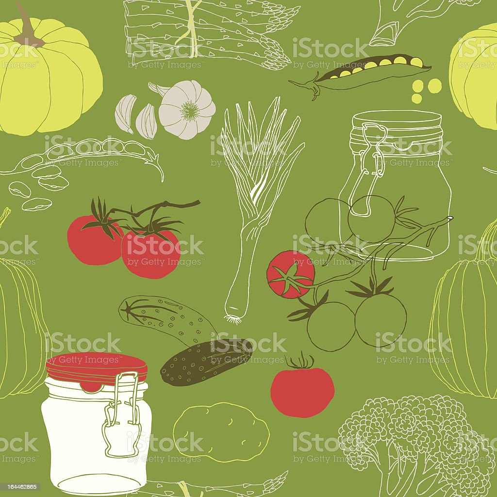 Vegetables, preserves and cooking royalty-free stock vector art