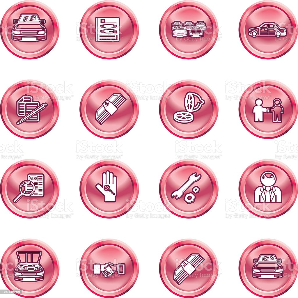Vehicle dealership icon set royalty-free stock vector art