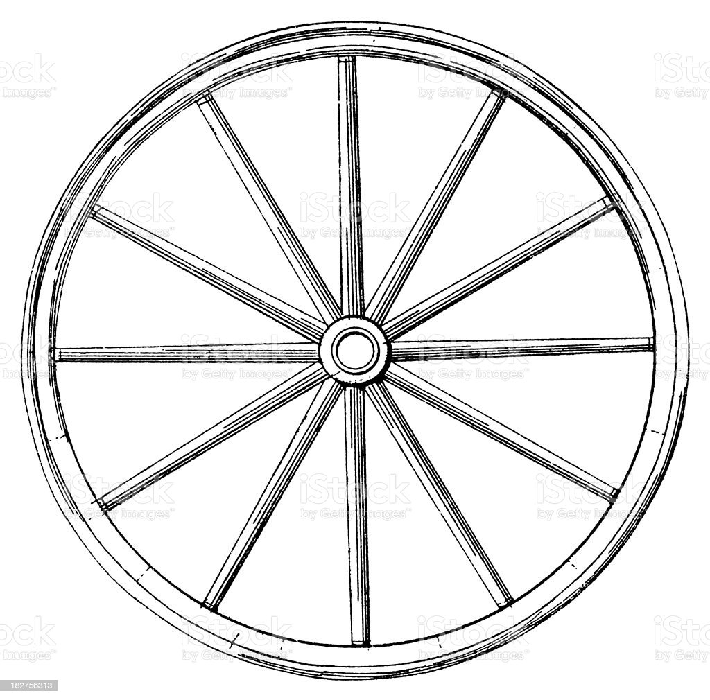 Vehicle Wheel | Antique Transportation Illustrations royalty-free stock vector art