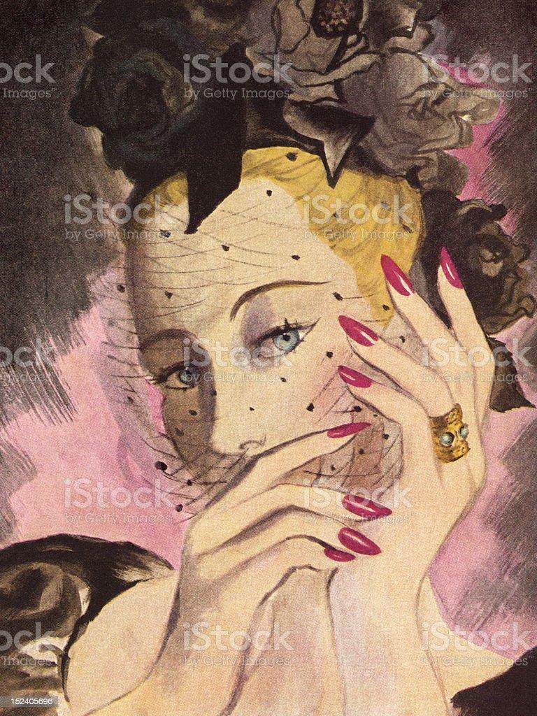 Veiled Lady royalty-free stock vector art