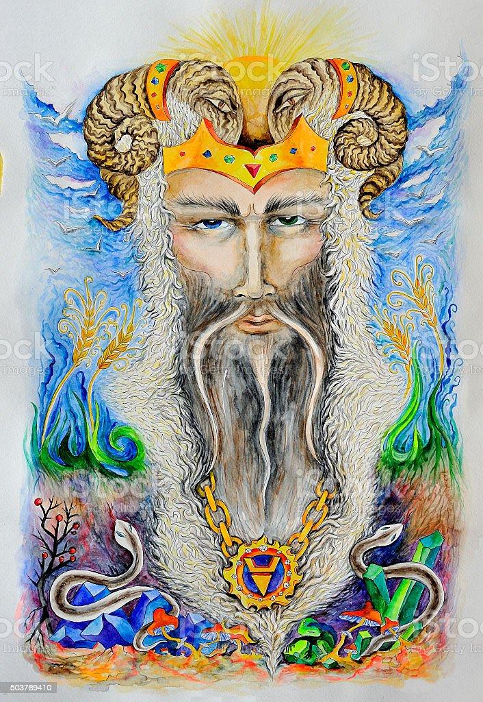 Veles. Slavic pagan god. An analogue of Hermes, Mercury, Odin vector art illustration