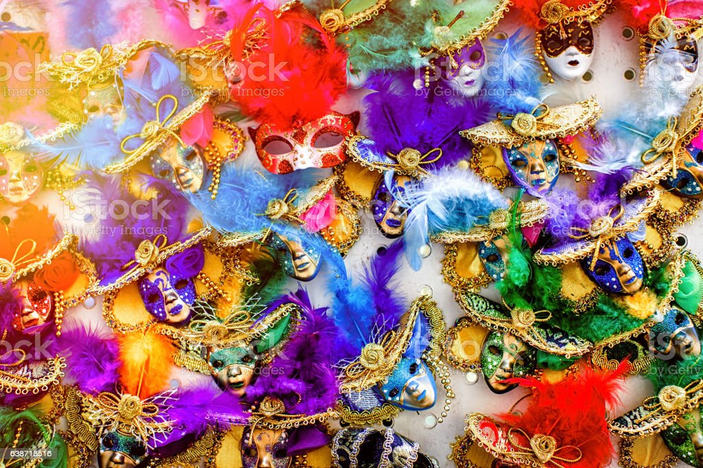 Venetian carnival masks vector art illustration