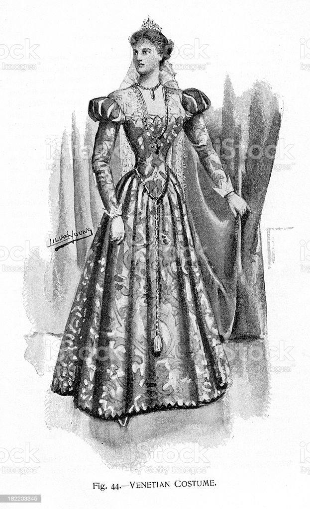 Venetian Costume - Victorian Fashion vector art illustration