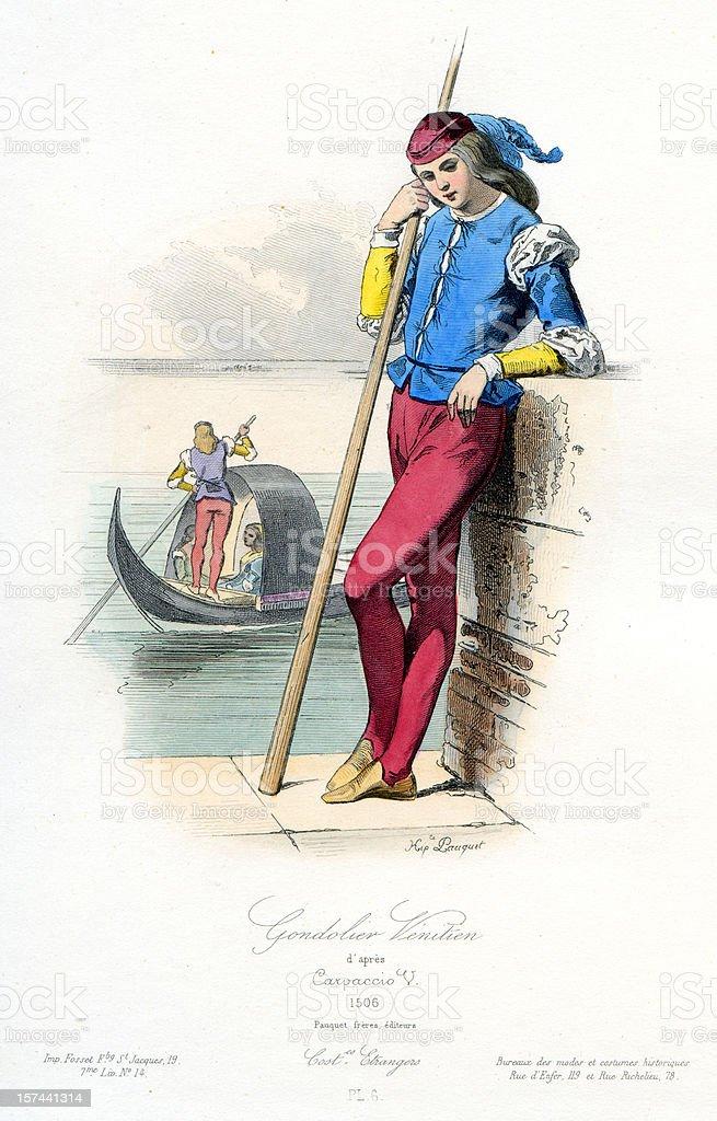 Venetian Gondolier vector art illustration