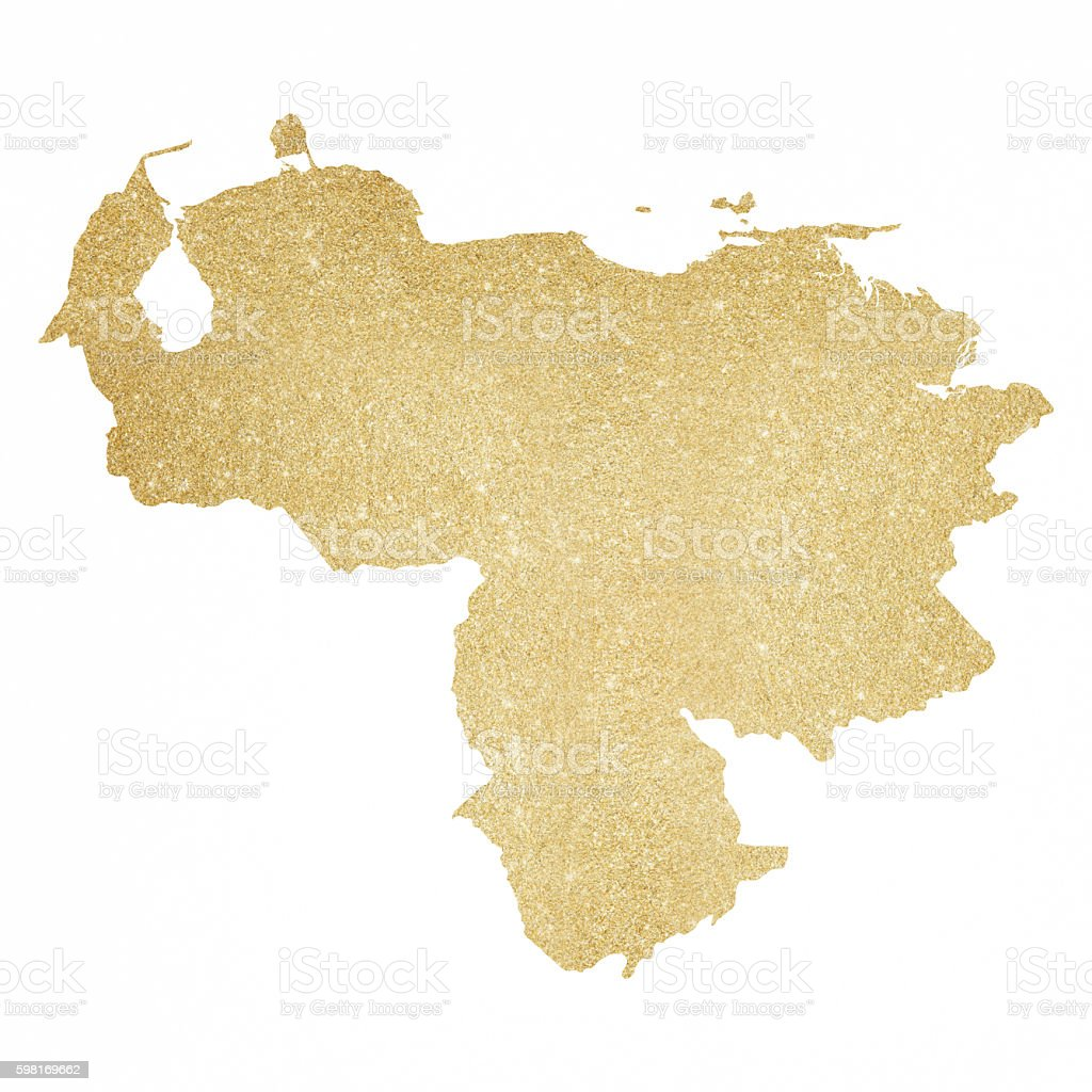 Venezuela Gold Glitter Map Royaltyfree Stock Vector Art