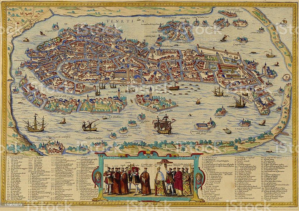 Venice Antique View vector art illustration