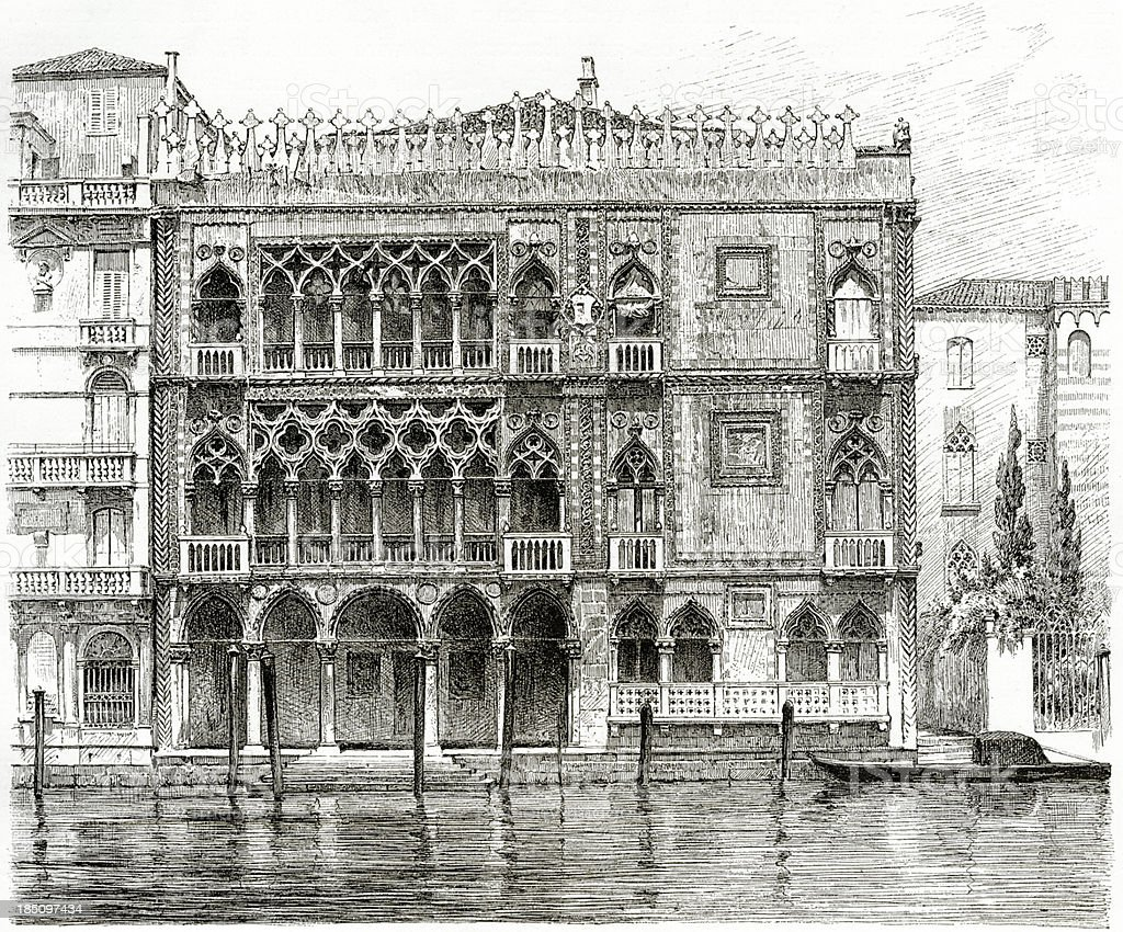 Venice, Ca' d'Oro, Grand Canal, Engraving, 1884 vector art illustration