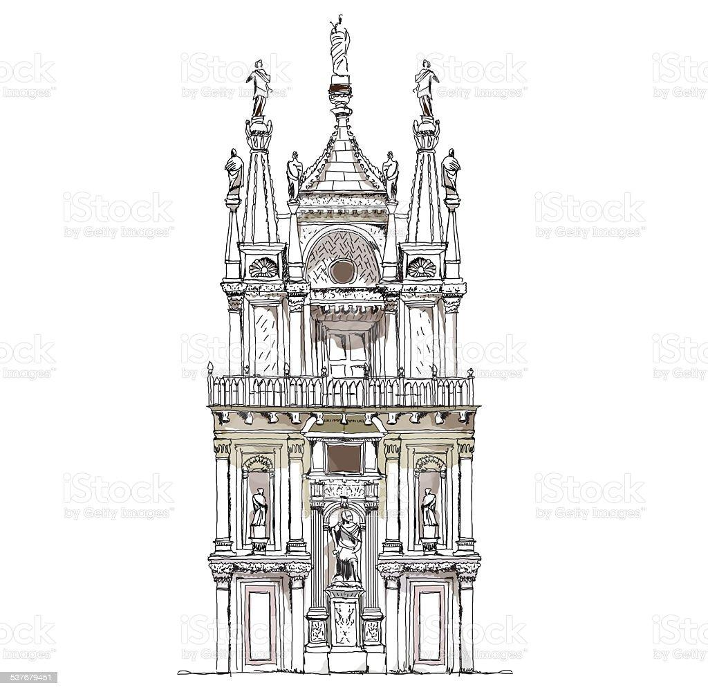 Venice court, Sketch collection vector art illustration