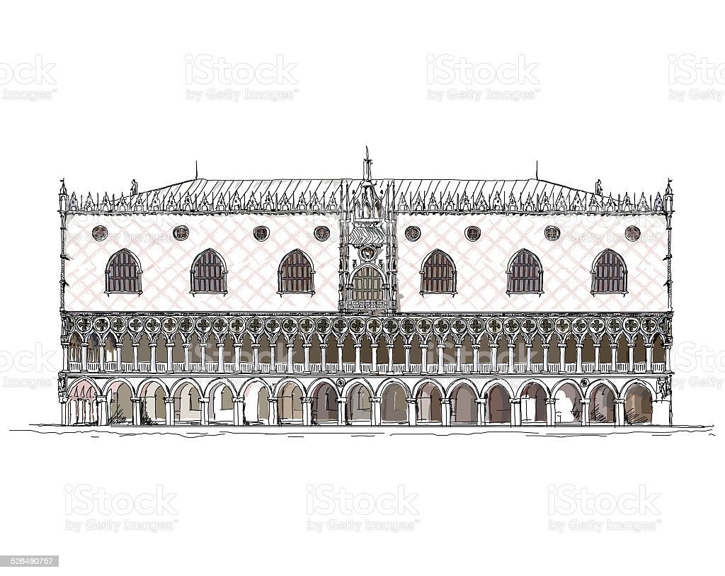 Venice, Doge palace. Sketch collection of famous buildings vector art illustration