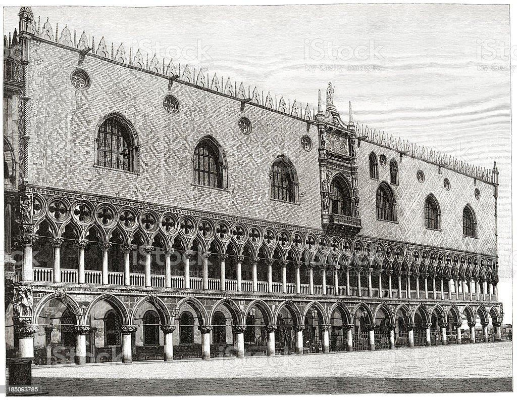 Venice, Doges Palace, Engraving, 1884 vector art illustration