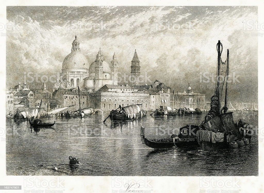 Venice, Italy(antique steel engraving) royalty-free stock vector art