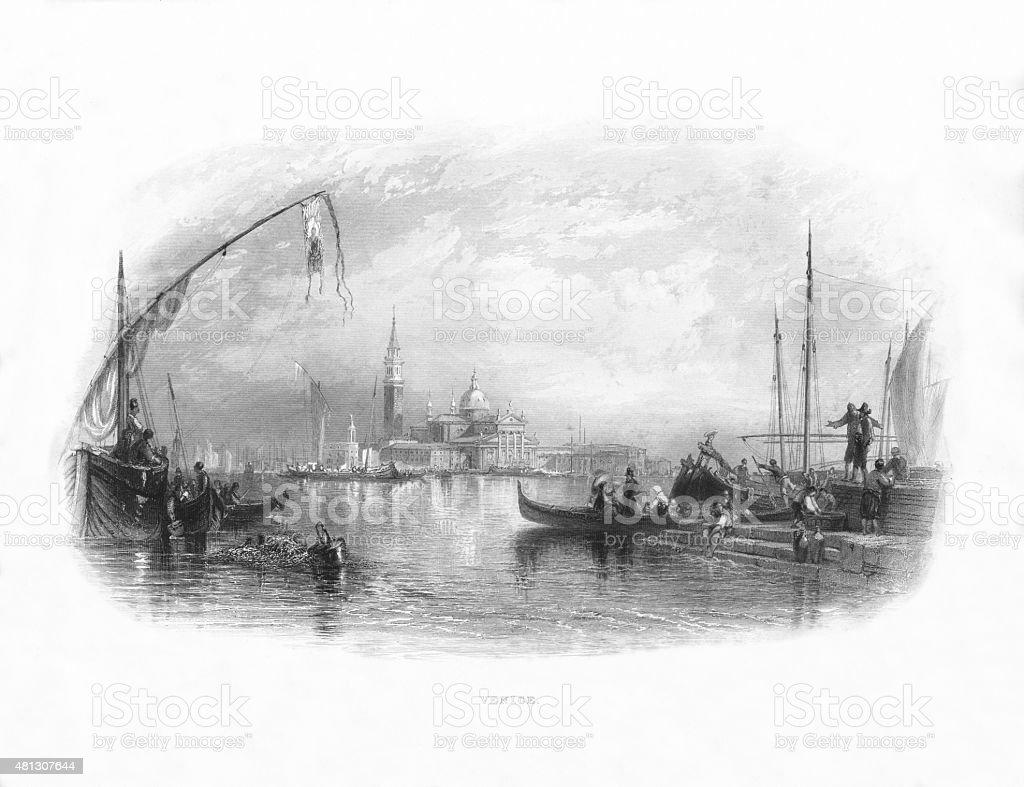 Venice, Italy Victorian Engraving, Circa 1865 vector art illustration