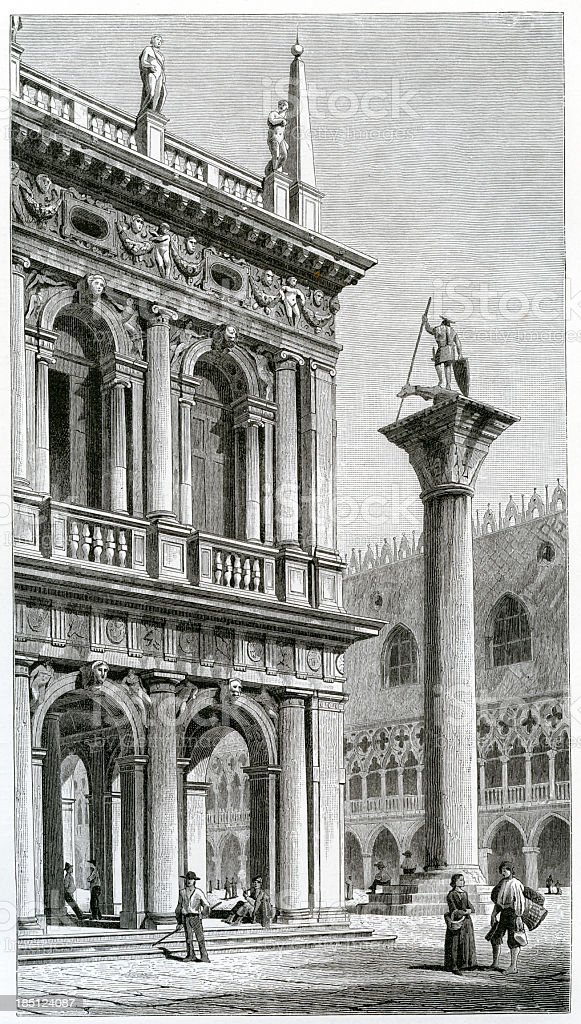 'venice, library san marco, engraving, 1884' vector art illustration