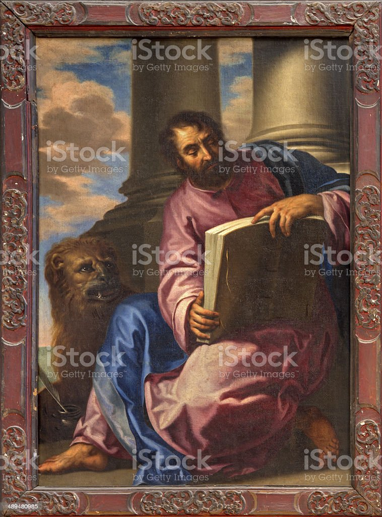 Venice -  Paint of st. Mark the evangelist vector art illustration