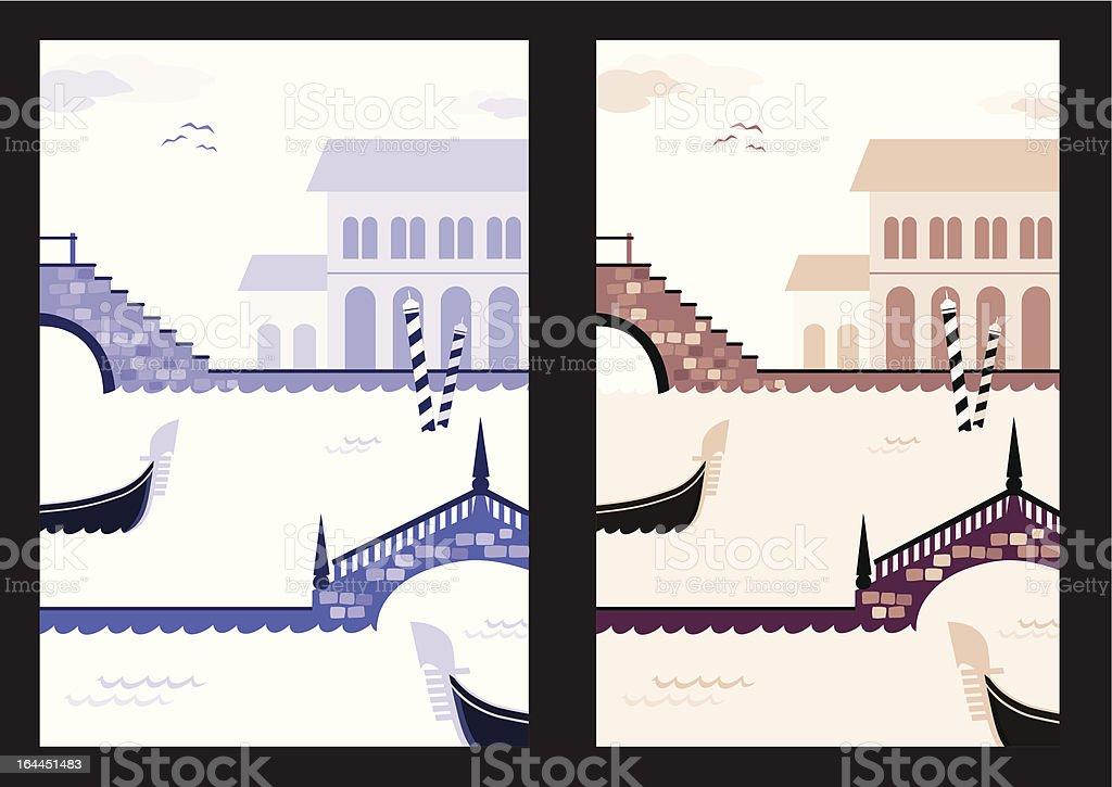 Venice seasons vector art illustration