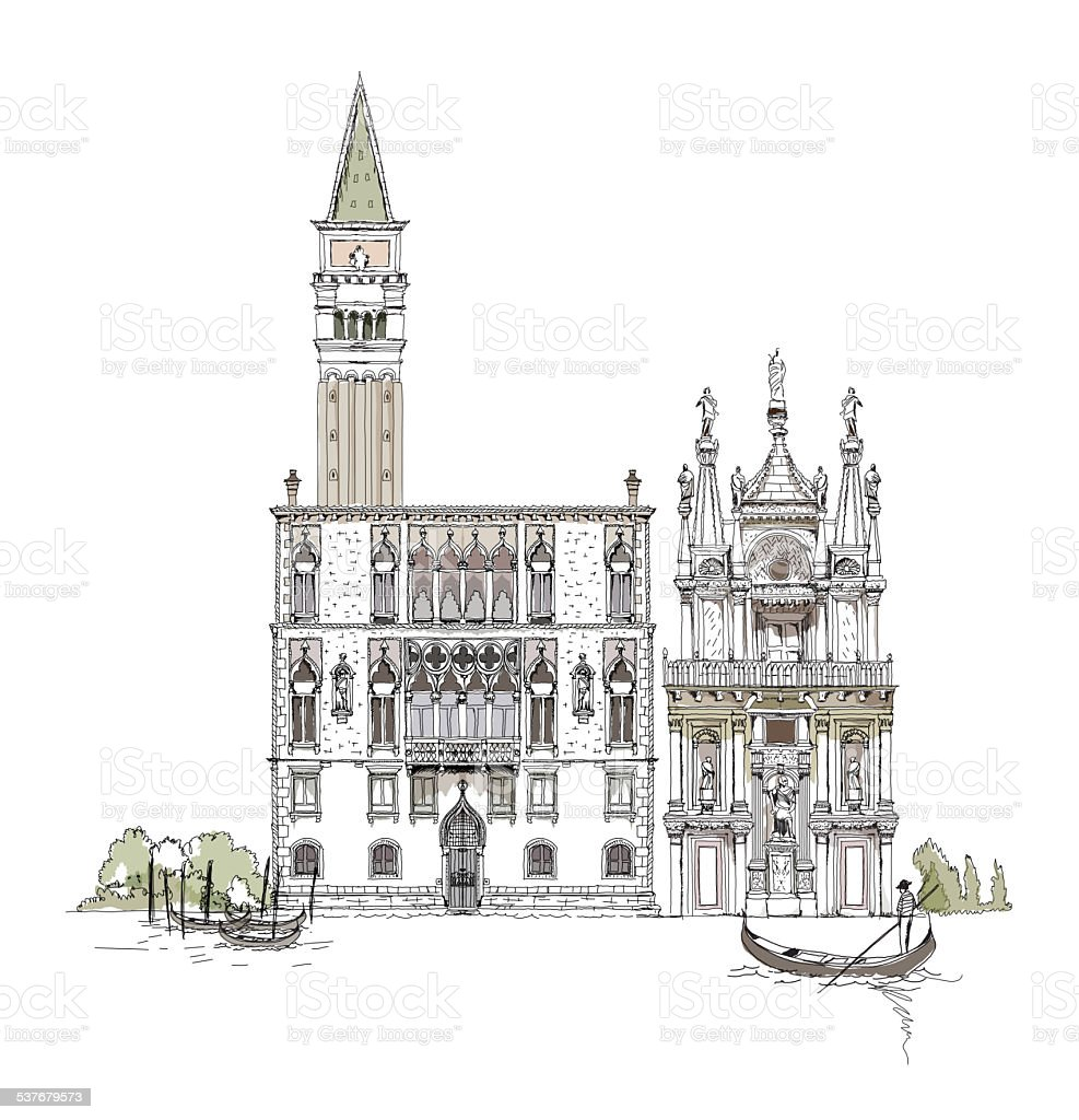 Venice, Venice hotel, town Tower and Court building, Sketch collection vector art illustration