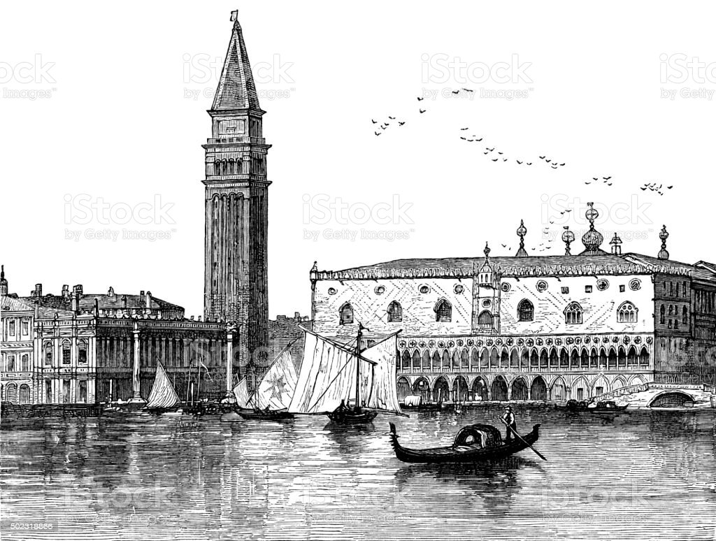 Venice - Victorian engraving vector art illustration
