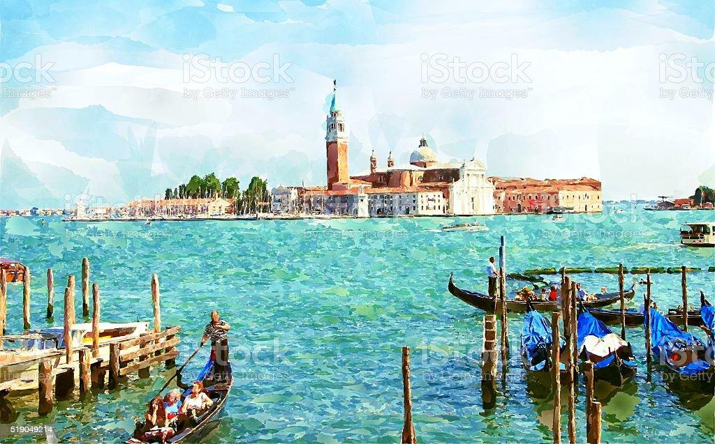 Venice watercolor painting vector art illustration
