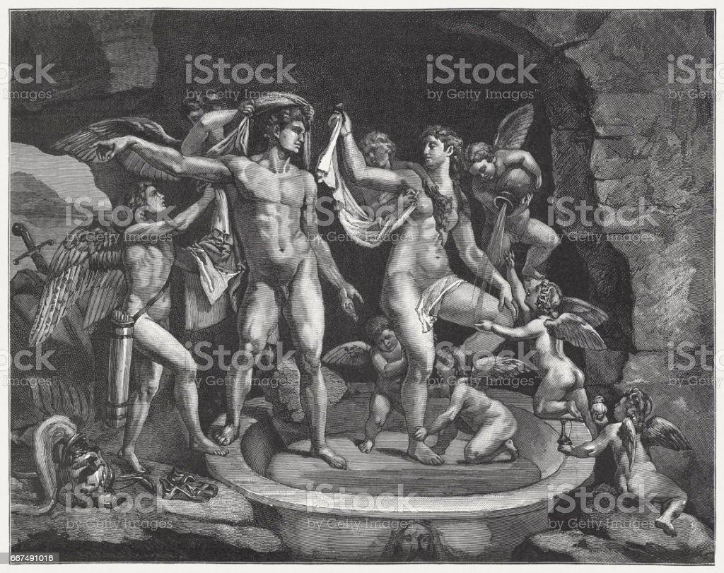 Venus and Mars Bathing, painted (1525/28) by Giulio Romano, Mantua vector art illustration