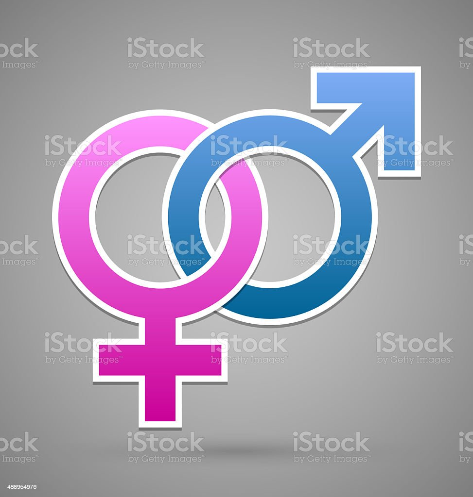 Venus and Mars female and male symbol vector art illustration