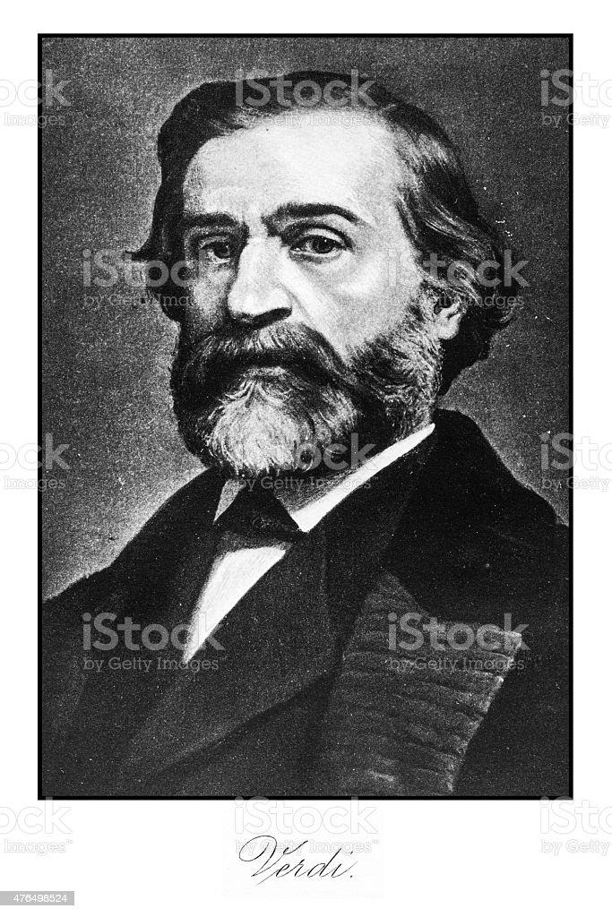 Verdi engraving vector art illustration