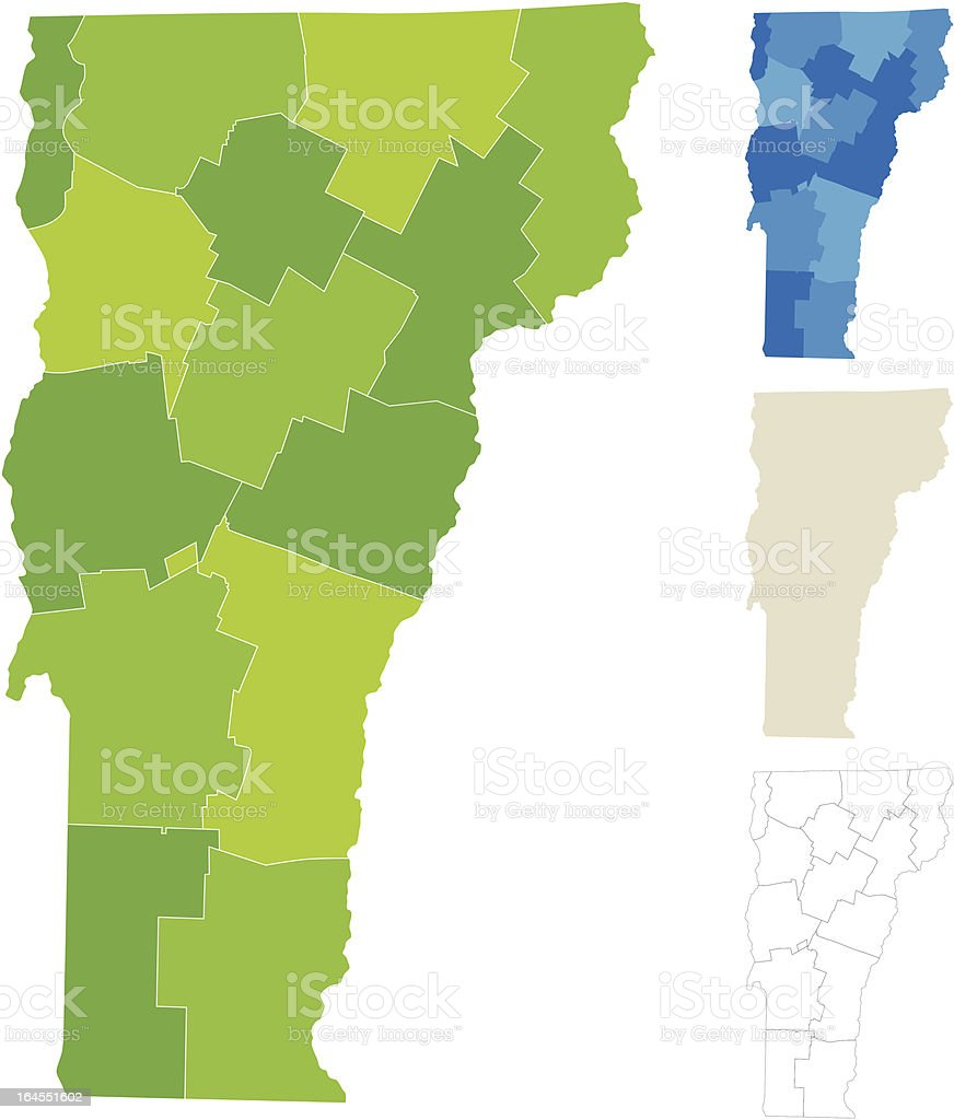 Vermont County Map royalty-free stock vector art